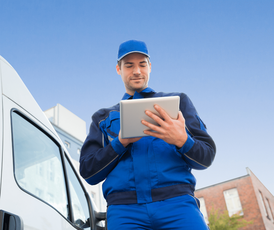 service professional with ipad