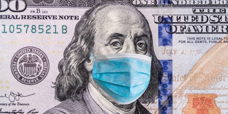 dollar bill with a coronavirus mask