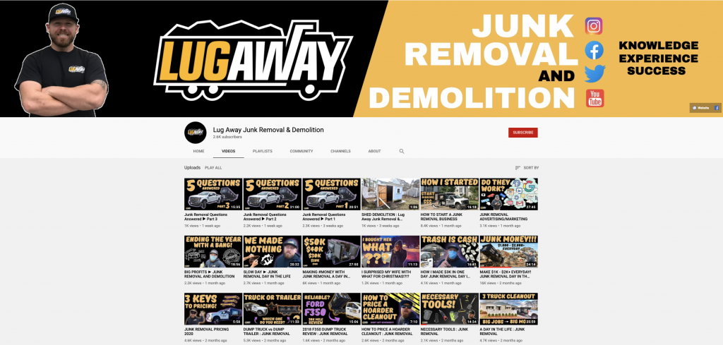 Lug Away Junk Removal and Demolition YouTube Channel