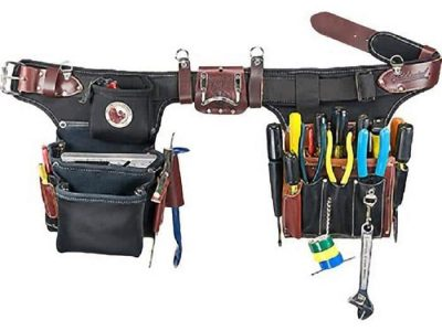 black and brown leather pro electrician tool bag set